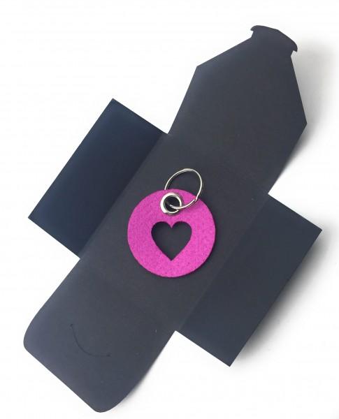 Schlüsselanhänger aus Filz - Kreis / Scheibe / mit Herz / Liebe - pink / magenta als Schlüsselanhäng