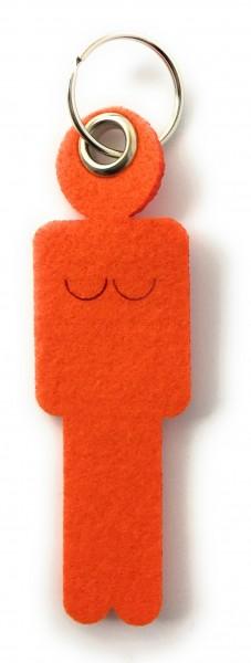 Frau / Hers - Filz-Schlüsselanhänger - Farbe: orange - optional mit Gravur / Aufdruck
