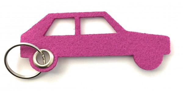 Auto - retro - Filz-Schlüsselanhänger - Farbe: magenta - optional mit Gravur / Aufdruck