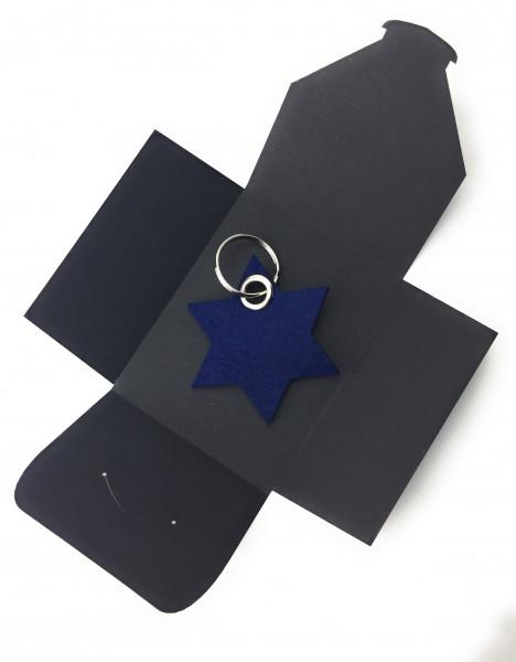 Schlüsselanhänger aus Filz optional mit Namensgravur - 6eck-Stern - marineblau als Schlüsselanhänge