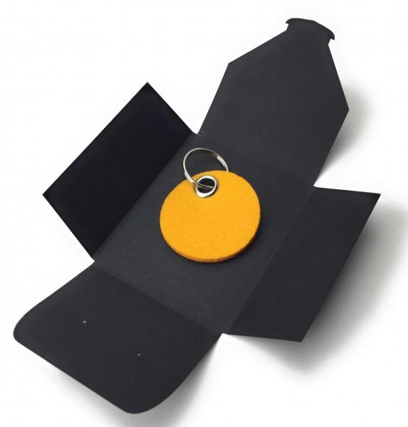 Schlüsselanhänger aus Filz optional mit Namensgravur - Kreis / Scheibe - safrangelb als Schlüsselan