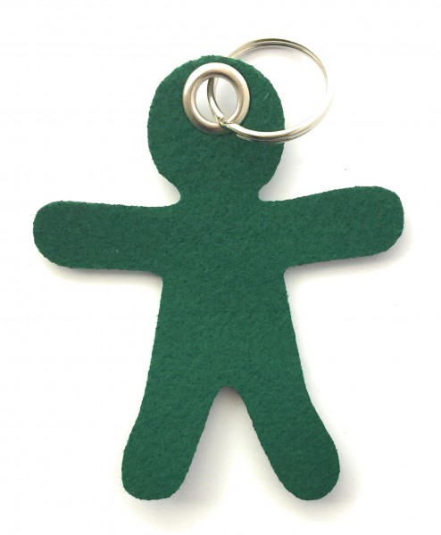 Lebkuchen - Männchen - Filz-Schlüsselanhänger - Farbe: waldgrün - optional mit Gravur / Aufdruck