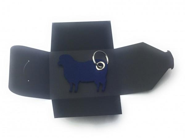 Schlüsselanhänger aus Filz optional mit Namensgravur - Schaf / Lamm / Tier - marineblau als Schlüsse
