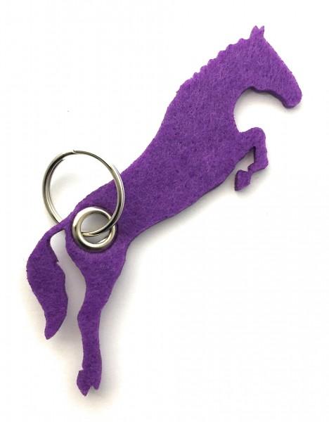 Spring - Pferd - Filz-Schlüsselanhänger - Farbe: lila / flieder - optional mit Gravur / Aufdruck