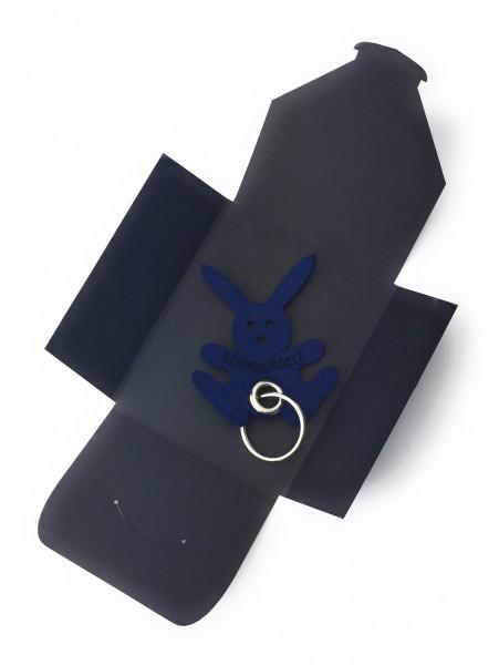 Schlüsselanhänger aus Filz optional mit Namensgravur - Hase / Freude / Ostern - marineblau als Schlü