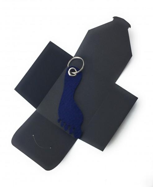 Schlüsselanhänger aus Filz optional mit Namensgravur - Fuss / Sohle - marineblau als Schlüsselanhän
