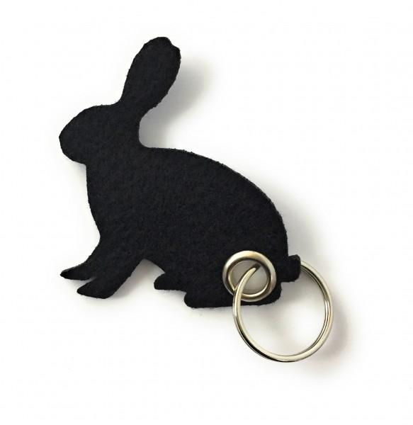 Hase / sitzend / Ostern - Filz-Schlüsselanhänger - Farbe: schwarz - optional mit Gravur / Aufdruck