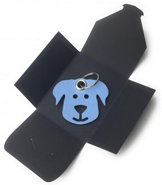 Schlüsselanhänger aus Filz - Hunde-Gesicht / Tier - eisblau als Schlüsselanhänger / Kofferanhänger