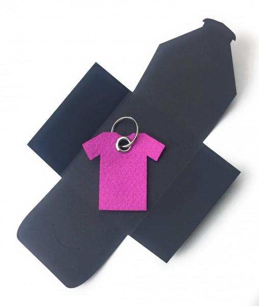 Schlüsselanhänger aus Filz optional mit Namensgravur - T-Shirt / Sport - pink / magenta als Schlüss