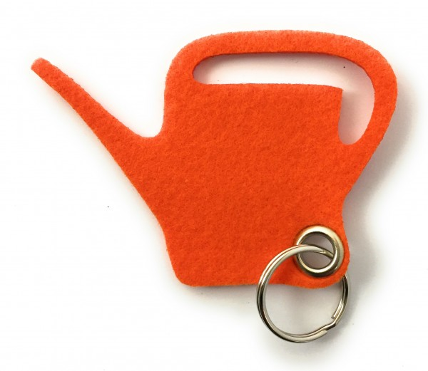 Giess-Kanne - Filz-Schlüsselanhänger - Farbe: orange - optional mit Gravur / Aufdruck