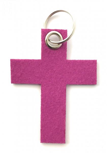Kreuz groß - Filz-Schlüsselanhänger - Farbe: magenta - optional mit Gravur / Aufdruck