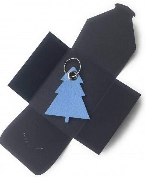 Schlüsselanhänger aus Filz optional mit Namensgravur - Tannenbaum / Weihnachtsbaum - eisblau als Sc
