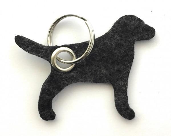 Hund / Tier - Filz-Schlüsselanhänger - Farbe: schwarz meliert - optional mit Gravur / Aufdruck