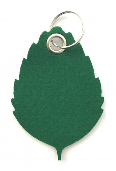 Blatt / Baum / Laub - Filz-Schlüsselanhänger - Farbe: waldgrün - optional mit Gravur / Aufdruck