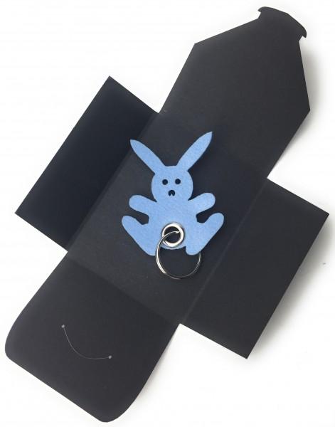 Schlüsselanhänger aus Filz optional mit Namensgravur - Hase - Freude / Ostern - Hase in eisblau als