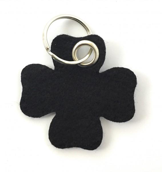 Glücksklee-Blatt - Filz-Schlüsselanhänger - Farbe: schwarz - optional mit Gravur / Aufdruck
