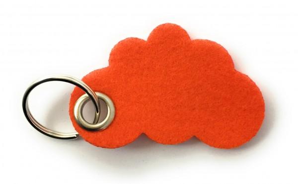 Wolke / Cloud - Filz-Schlüsselanhänger - Farbe: orange - optional mit Gravur / Aufdruck