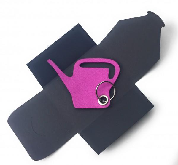 Schlüsselanhänger aus Filz optional mit Namensgravur - Giess-Kanne / Garten - pink / magenta mit gra