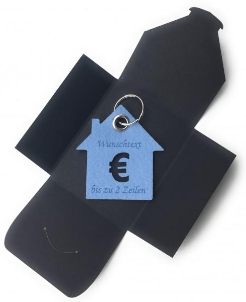Schlüsselanhänger aus Filz optional mit Namensgravur - Haus / Bank / mit €-Zeichen - eisblau als Sc