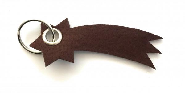 Sternschnuppe - Filz-Schlüsselanhänger - Farbe: braun - optional mit Gravur / Aufdruck