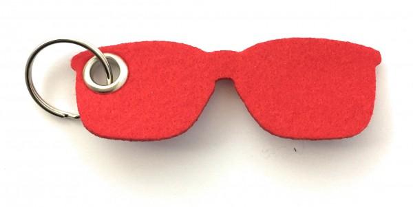 Brille - Filz-Schlüsselanhänger - Farbe: rot - optional mit Gravur / Aufdruck