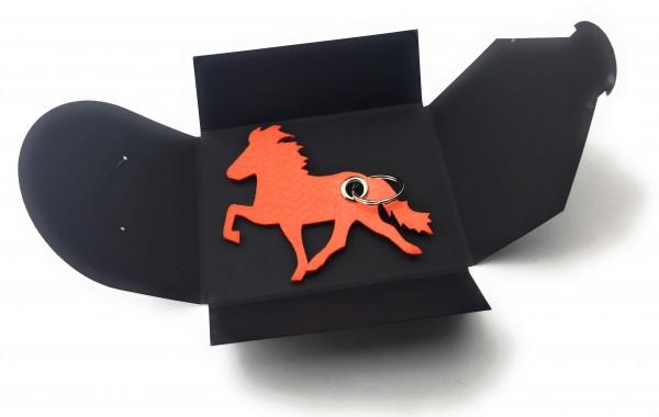 Schlüsselanhänger aus Filz optional mit Namensgravur - Island-Pferd / Reiter - orange als Schlüssela