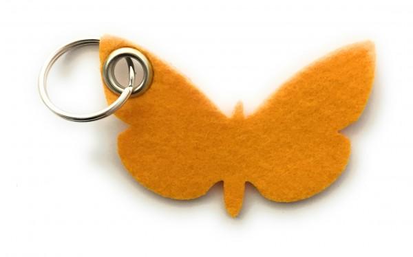 Schmetterling - Filz-Schlüsselanhänger - Farbe: gelb - optional mit Gravur / Aufdruck
