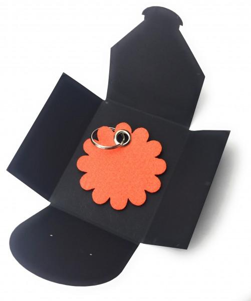 Schlüsselanhänger aus Filz optional mit Namensgravur - Blume rund / Blüte - orange als Schlüsselanh