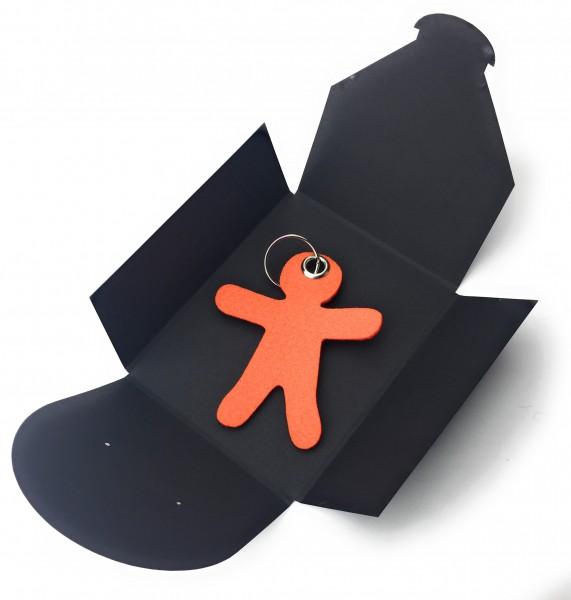Schlüsselanhänger aus Filz optional mit Namensgravur - Figur / Lebkuchenmännchen - orange als Schlü