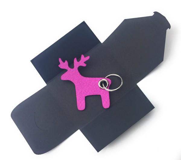 Schlüsselanhänger aus Filz optional mit Namensgravur - Elch / Weihnachten - pink / magenta als Schl