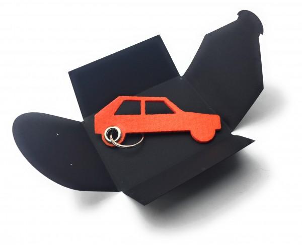 Schlüsselanhänger aus Filz optional mit Namensgravur - Auto Retro - orange als Schlüsselanhänger / K