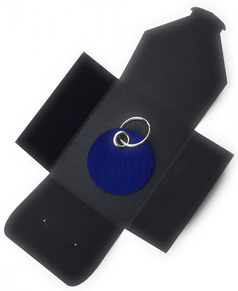 Schlüsselanhänger aus Filz optional mit Namensgravur - Kreis / Scheibe - königsblau als Schlüsselan