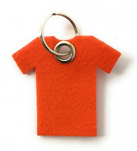 T-Shirt - Filz-Schlüsselanhänger - Farbe: orange - optional mit Gravur / Aufdruck
