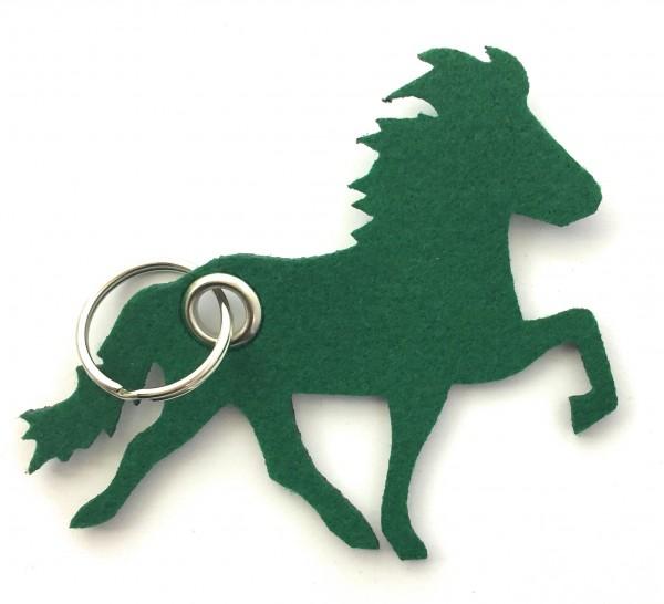 Island -Pferd / Reiten - Filz-Schlüsselanhänger - Farbe: waldgrün - optional mit Gravur / Aufdruck