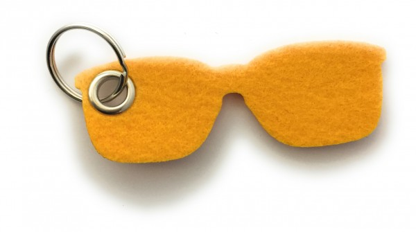 Brille - Filz-Schlüsselanhänger - Farbe: gelb - optional mit Gravur / Aufdruck