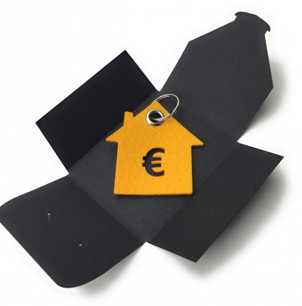 Schlüsselanhänger aus Filz optional mit Namensgravur - Haus / Bank / mit €-Zeichen - safrangelb als