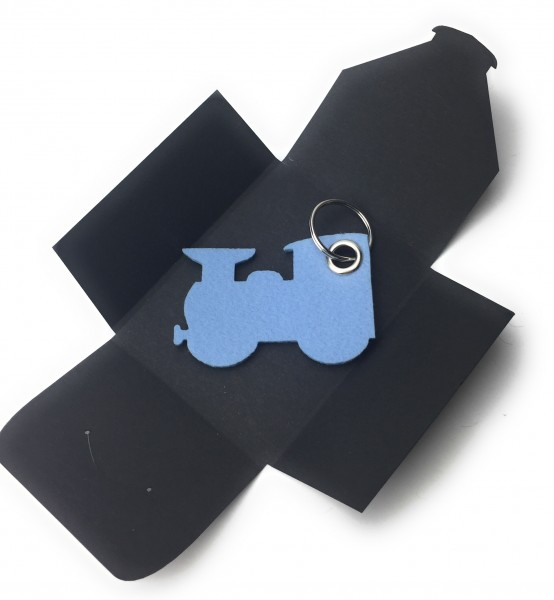 Schlüsselanhänger aus Filz optional mit Namensgravur - Dampflok klein / Lokomotive - in eisblau als