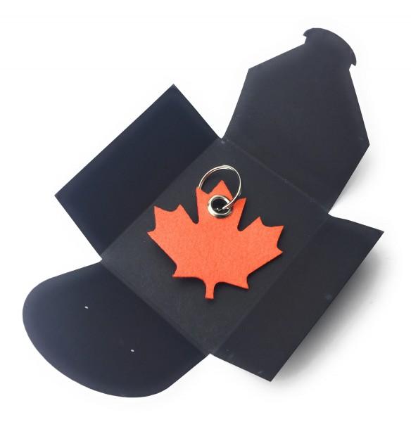 Schlüsselanhänger aus Filz optional mit Namensgravur - Ahornblatt / Kanada - orange als Schlüsselan