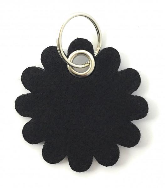 Blume - Rund - Filz-Schlüsselanhänger - Farbe: schwarz - optional mit Gravur / Aufdruck