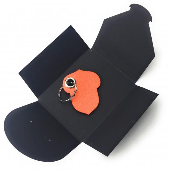 Schlüsselanhänger aus Filz optional mit Namensgravur - Hasel-Nuss / Garten - orange als Schlüsselan
