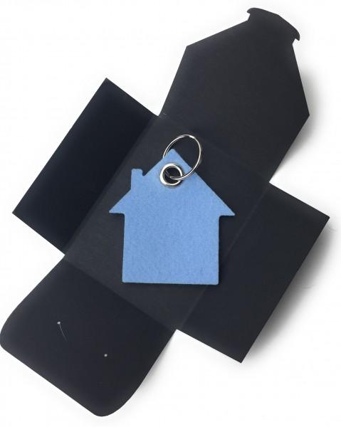 Schlüsselanhänger aus Filz optional mit Namensgravur - Haus - eisblau als Schlüsselanhänger / Koffer