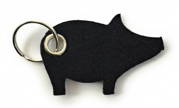 Glücks-Schwein - Filz-Schlüsselanhänger - Farbe: schwarz - optional mit Gravur / Aufdruck