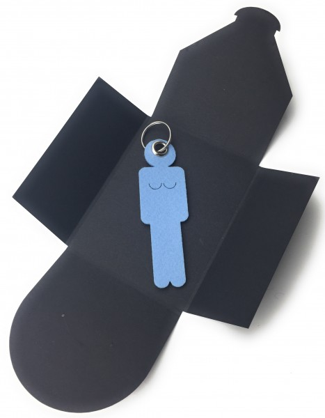 Schlüsselanhänger aus Filz optional mit Namensgravur - Frau / Hers - eisblau als Schlüsselanhänger