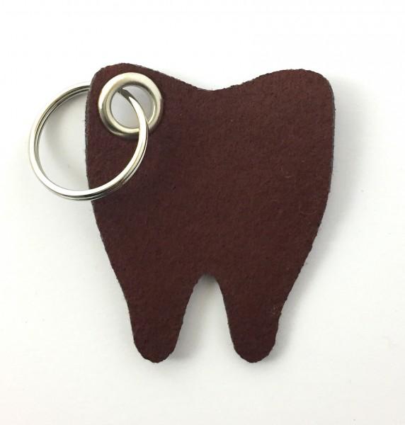 Backen - Zahn - Filz-Schlüsselanhänger - Farbe: braun - optional mit Gravur / Aufdruck
