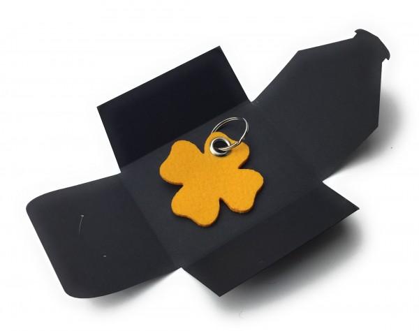 Schlüsselanhänger aus Filz optional mit Namensgravur - Glück / Kleeblatt - safrangelb als Schlüssela