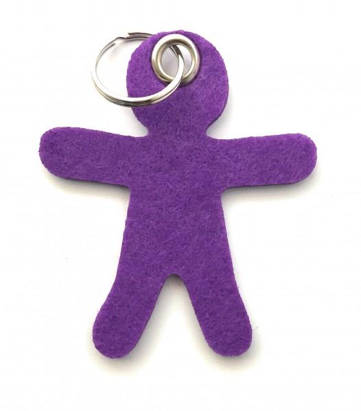 Lebkuchen - Männchen - Filz-Schlüsselanhänger - Farbe: lila / flieder - optional mit Gravur / Aufdru