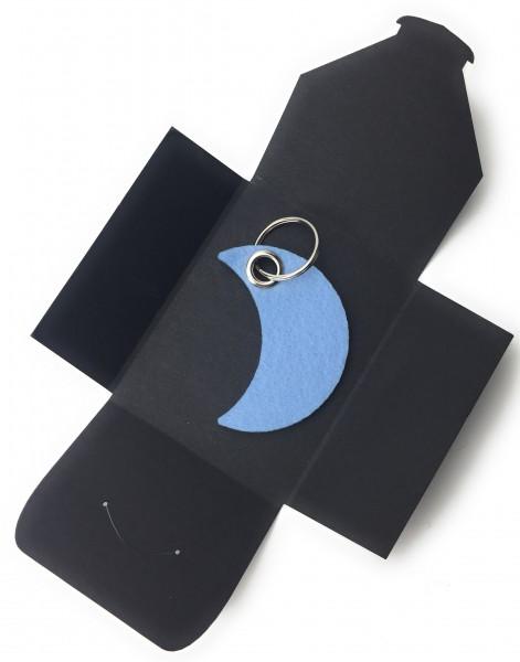 Schlüsselanhänger aus Filz optional mit Namensgravur - Mond / Nacht - eisblau als Schlüsselanhänger