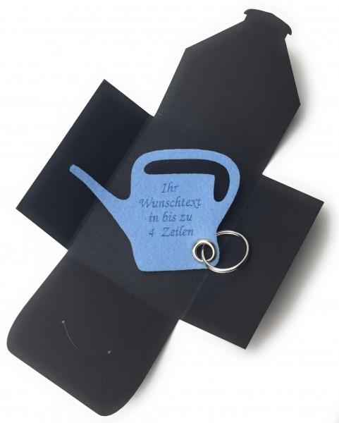 Schlüsselanhänger aus Filz optional mit Namensgravur - Giess-Kanne / Garten - eisblau mit gratis Nam