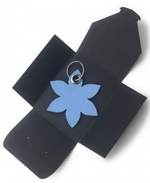 Schlüsselanhänger aus Filz optional mit Namensgravur - Blume - Spitz / Blüte - in eisblau als Schlü