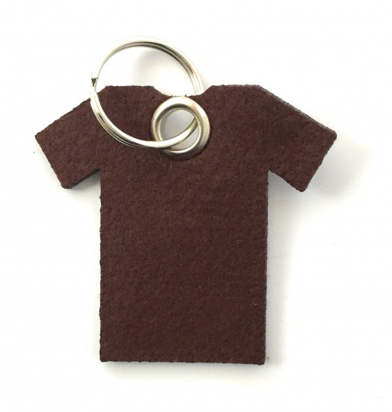 T-Shirt - Filz-Schlüsselanhänger - Farbe: braun - optional mit Gravur / Aufdruck